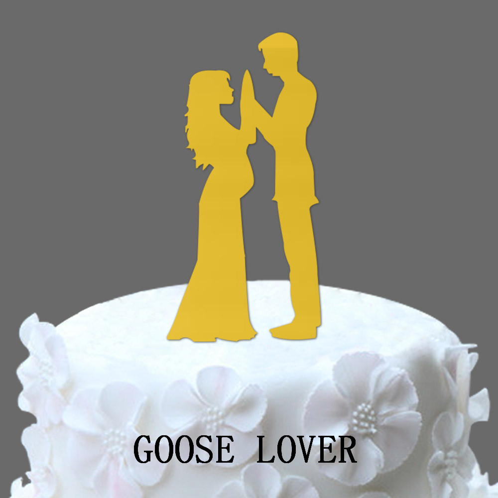 Pregnant Bride And Groom Silhouette Wedding Cake Topper, Acrylic ...