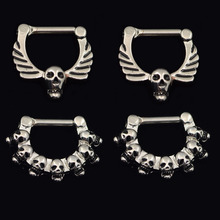 316L Stainless Steel Septum Clicker Hinged Skull+7 Skulls Wings Nose Ring Jewelry Gauges nose Septum clicker