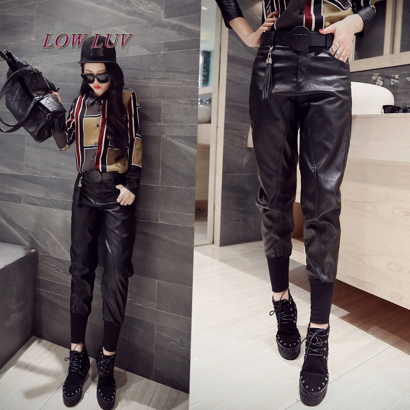 2017 New Arrival PU Leather   Pants   Women's Fashion Harem   Pants   Casual Solid Leather Trousers Loose   Capris  /