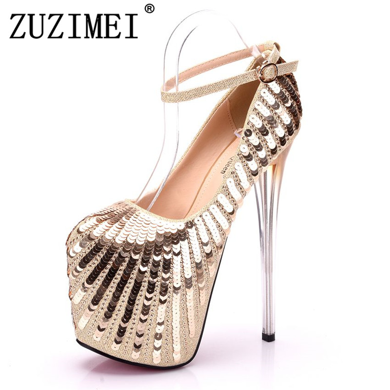 19CM women high heels shoes pumps Ankle Strap Closed Toe Platforms High Heels 19cm Platform Gold Bling pumps sexy party heels барьер road angel 19cm