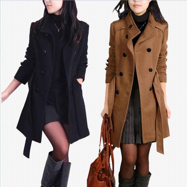 Коллекция 2016 г.; Новинка осени/зима модные женские туфли Тренч стенд воротник средней длины шерстяное пальто с длинными рукавами больших размеров Верхняя одежда NZ378