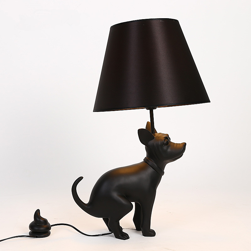 Retro Simple Personality <font><b>Table</b></font> <font><b>Lamp</b></font> Puppy Bedroom Living Room <font><b>Table</b></font> <font><b>Lamp</b></font> Poop <font><b>Dog</b></font> <font><b>Table</b></font> <font><b>Lamp</b></font> Creative Modern Hotel Lights image