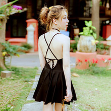 One Piece Solid Black Female Swimsuit Japanese Skirt Bandege  Sexy Swimming Suit Bathing Suit For Women Beachwear Suit Summer