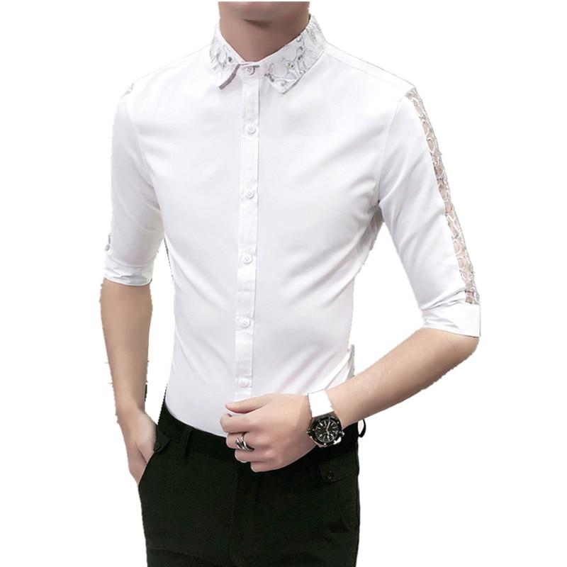 Hot Sale Men Shirt Korean Slim Fit Hairstylist Work Shirts Social Sexy Lace Patchwork Half Sleeve Dress Shirt Man Blouse Homme