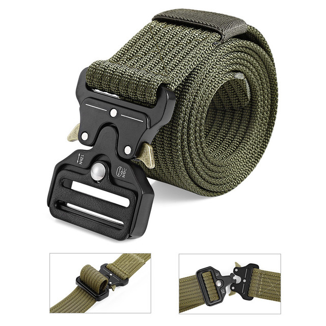 38mm / 45mm Men Military Tactical Belt 125cm Nylon Adjustable Heavy Duty Waist Strap with Quick Release Buckle Hunting Accessory