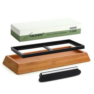 Image 3 - HEZHEN kuchnia ostrzałka kamień szlifierski diamentowa powierzchnia ostrzenia osełka nóż młynek do kuchni narzędzie z prowadnica kątowa