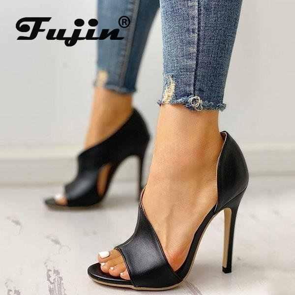Fujin รองเท้าแตะผู้หญิง 2020 ฤดูร้อนเปิดนิ้วเท้ารองเท้าแตะ Dropshipping รองเท้าส้นสูง 36-41 ขนาด Hollow รองเท้าแฟชั่น Causal รองเท้าแตะ