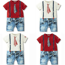 Emmababy High Quality arrival Baby Boy Romper Cotton Short Sleeve Covered Button Romper Outfits Gentleman New Born Baby Clothes picturesque childhood new born baby boy clothes 3 1 covered buttono neck footies pajamas original cotton hot sale