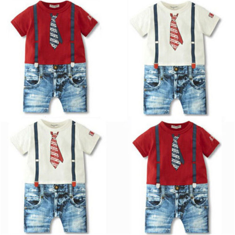 Emmababy High Quality arrival Baby Boy   Romper   Cotton Short Sleeve Covered Button   Romper   Outfits Gentleman New Born Baby Clothes