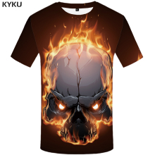 цена KYKU Brand Skull T Shirt Men Space Tshirt Fire Graphic 3d Print T-shirt Punk Rock Clothes Funny Hip Hop Mens Clothing Summer New в интернет-магазинах