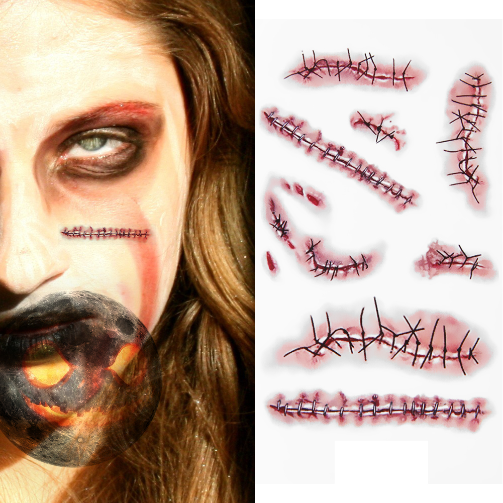 10pcspack scar 3d cut wound temporary tattoo stickers waterproof halloween terror wound realistic blood injury scar fake tattoo - Halloween Fake Wounds
