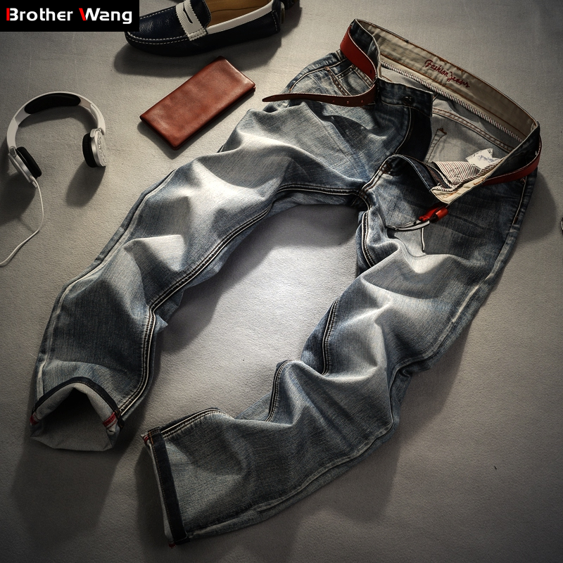 Image 2 - Brother Wang Brand men's clothing 2019 New Men 's Jeans fashion Retro Slim small straight jeans for men casual men trousers-in Jeans from Men's Clothing