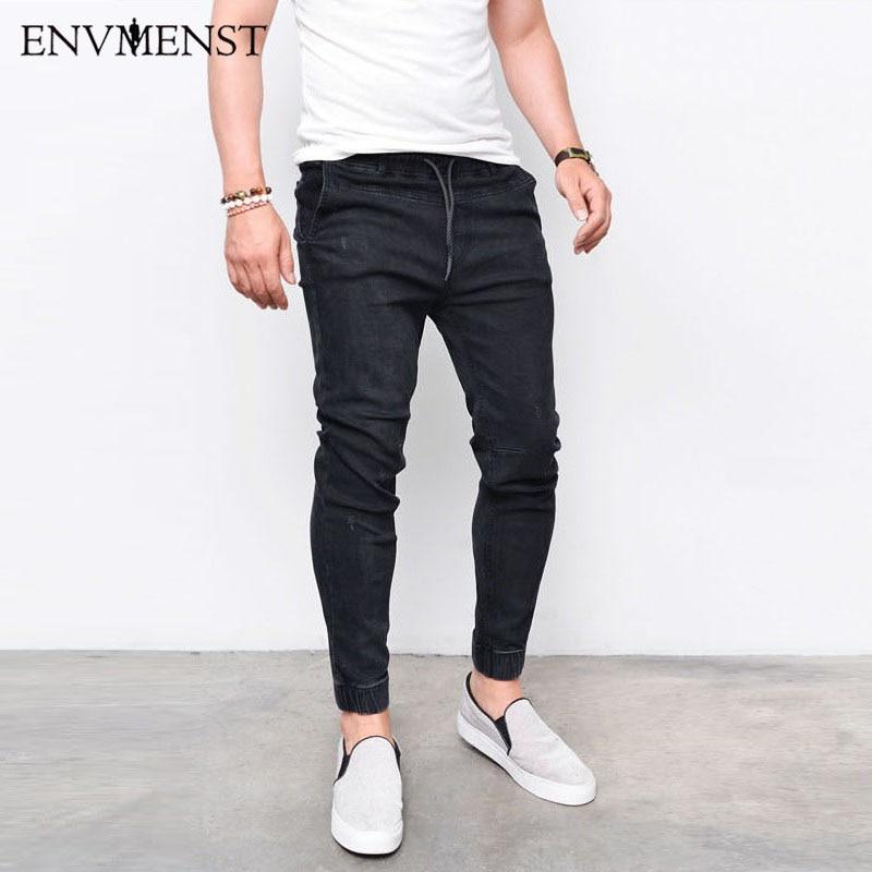 2017 Envmenst Fashion Men's Harem Jeans Men Washed Feet Shinny Denim Pants Hip Hop Sportswear Elastic Waist Joggers Pants