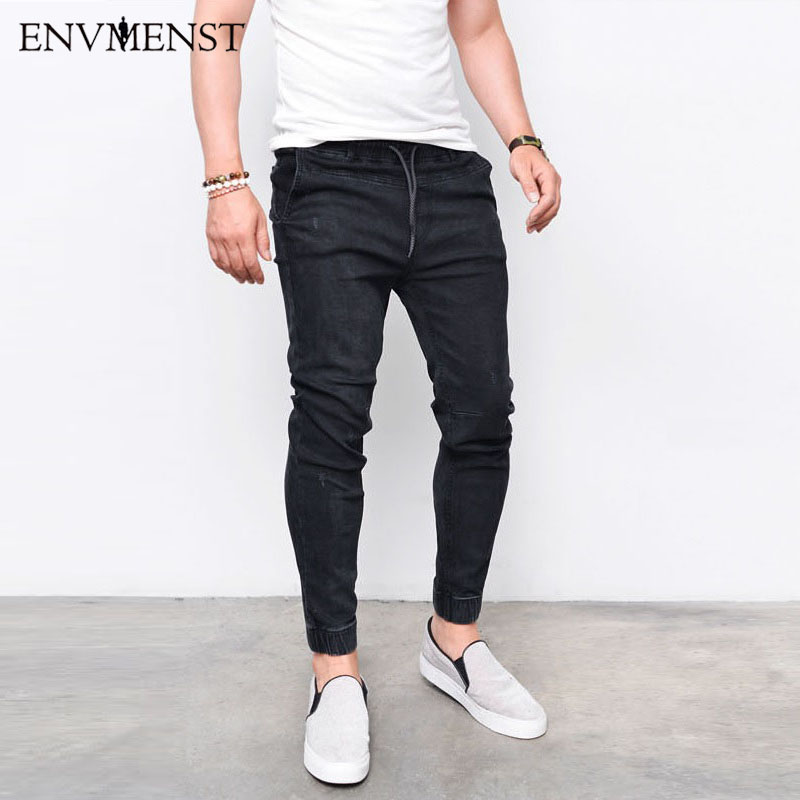 2019 Envmenst Fashion Men's Harem Jeans  Men Washed Feet Shinny Denim Pants Hip Hop Sportswear Elastic Waist Joggers Pants