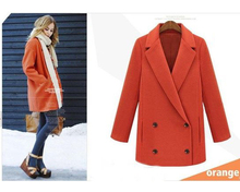 Simple All match Cheap Women s Woolen Jacket Double Breasted Wool Blends Jacket