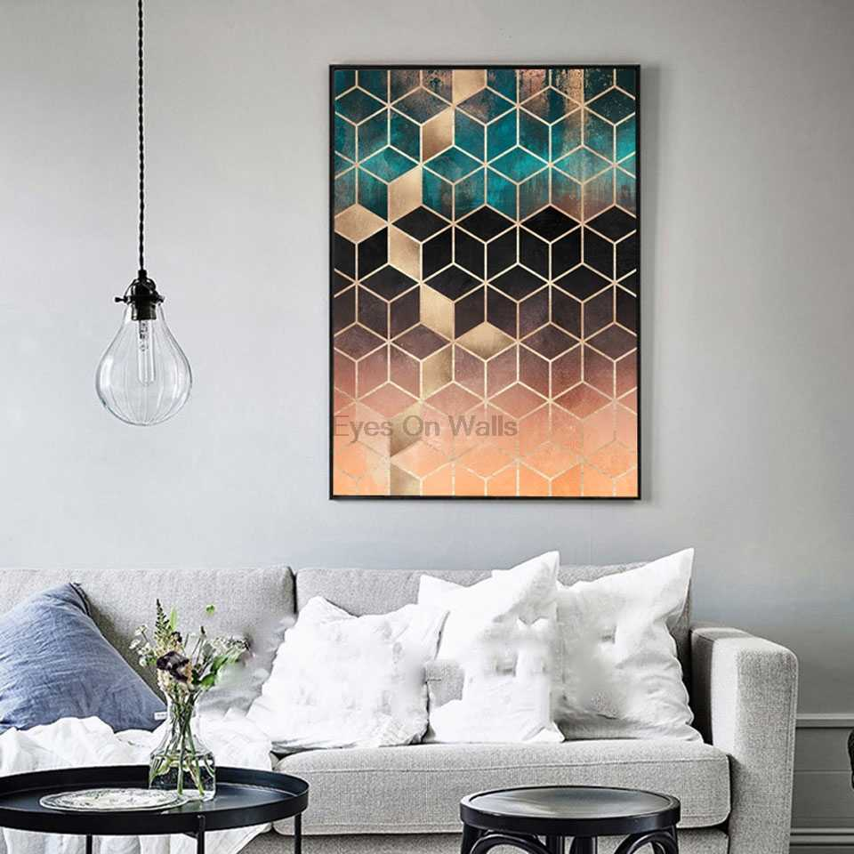 Abstract Art Decorative Painting Soft Blue Gradient Cubes Wall Art Canvas Painting Nordic Geometric Poster Print Wall Picture