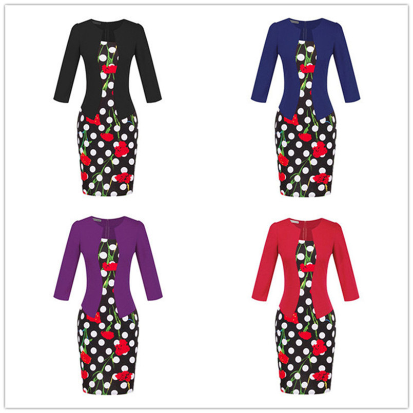 Plus Size XXXL Pencil Work Dresses Present With Belt One Piece Dress Patchwork Fake 2 Pcs Business Formal Office Bodycon Dress (9)