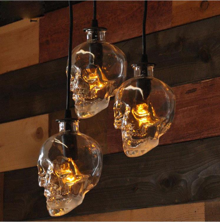 Vintage tête de crâne verre pendentif lumière suspendus lampes suspendues pour art décoration edison pendentif lumières E14 ampoule en gros