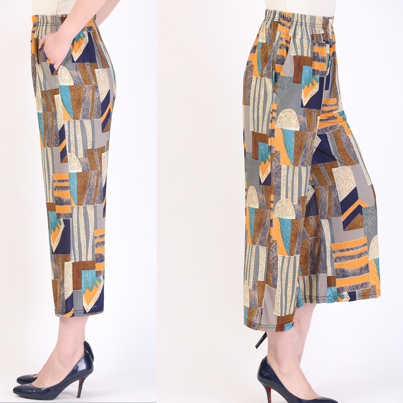 2019 Spring Summer elegat   pants   women lady wide leg   pants   women abstract art pattern high waist trousers sash   pant     capri   female