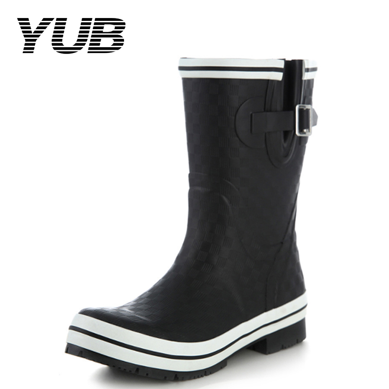 YUB Brand PVC Women Mid Calf Rain Boots with Fashion White Double Strip Band and Elastic Band Women Water Shoes fashionable women s mid calf boots with low heel and double buckle design