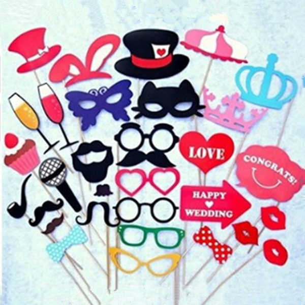 31 pcsset Funny Wedding Photo Props Lip Colorful Card On A Sticke Party Supplies Favors Family-dinner Free Shipping 85Z