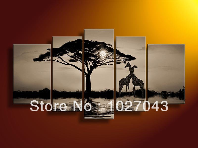 High End Huge Black And White Wall Art African Sunset