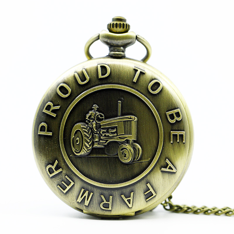 Fashion Bronze Tractor Design  Proud To Be A farmer  Quartz Pocket Watch Analog Pendant Necklace Men Women Watches Gift