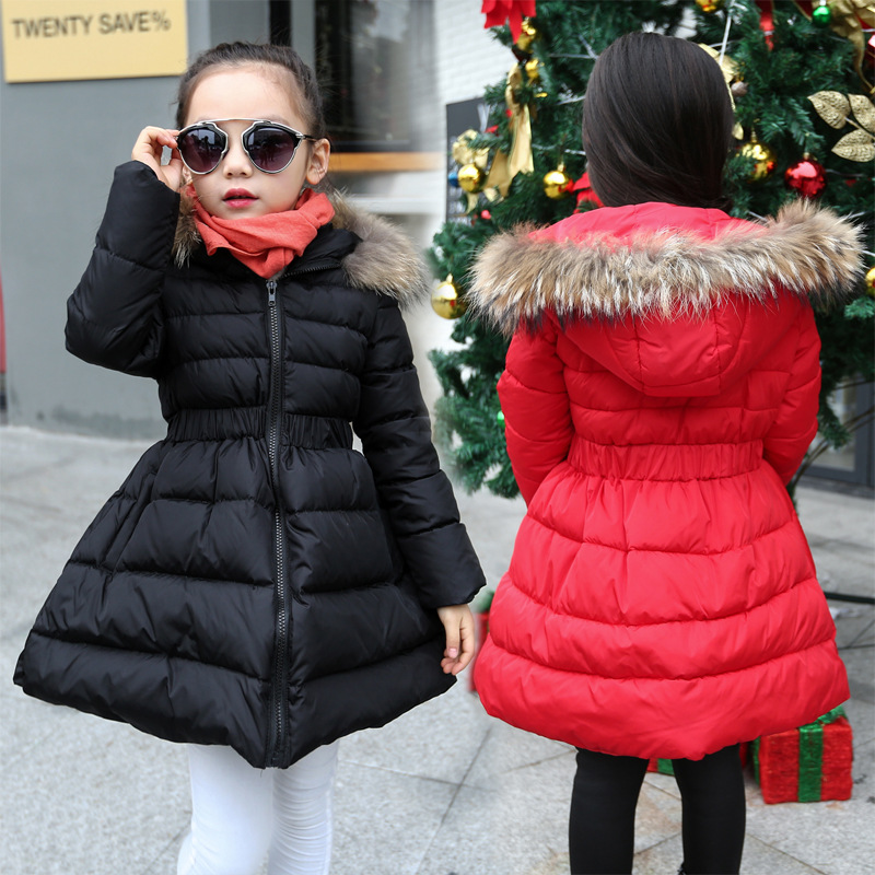 2018 New Girls In The Winter of The South Korean Version of The Thick Down Jacket with A Long Coat In The Hair Collar and Jacket children s down jacket boys in the long section 2018 new big children korean version of the thick winter coat large fur collar