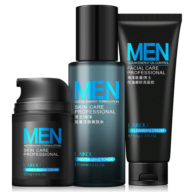 Anti Aging Daily Skincare Set For Men 3pcs Cleanser Toner Cream Moisturizing Oil-control Shrink Pores Anti Wrinkle Men Face Care 1
