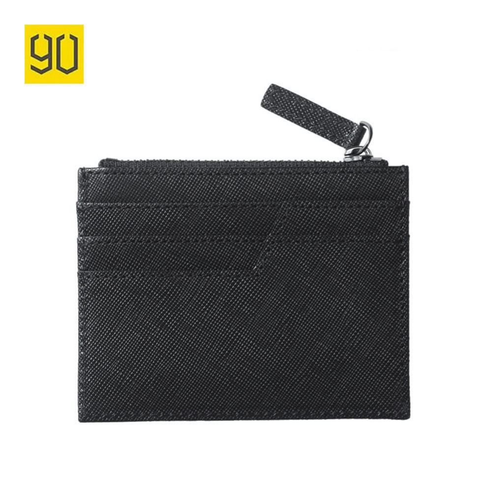 90 Points Xiaomi Wallets Cow Leather Zipper Wallets Card Holder Black Coin Purse Pocket Men's Wallet Standard Wallets Fashion coin 5 90