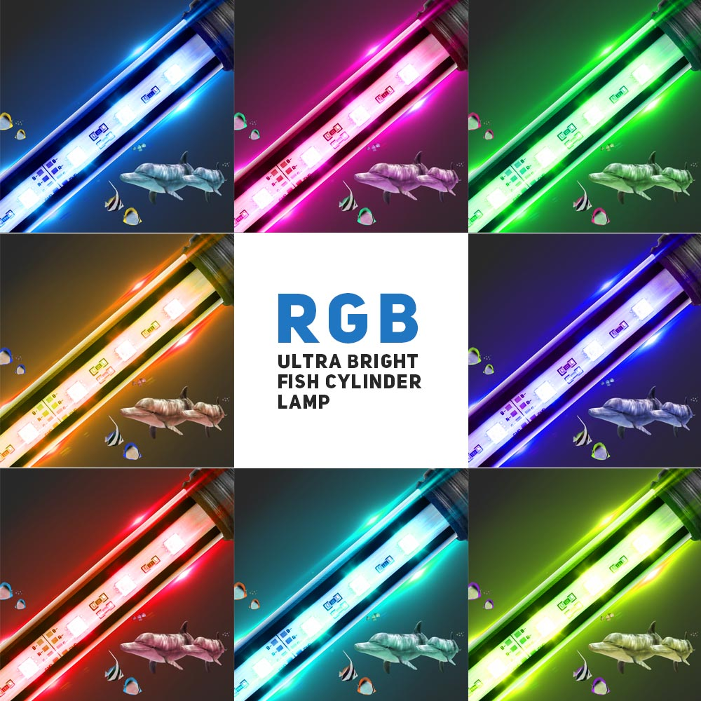 EU US Plug RGB Aquarium Fish Tank LED Tube Lamp Submersible Light Bulbs Tubes 5050 SMD Aquarium Lighting With Wireless Remote D4