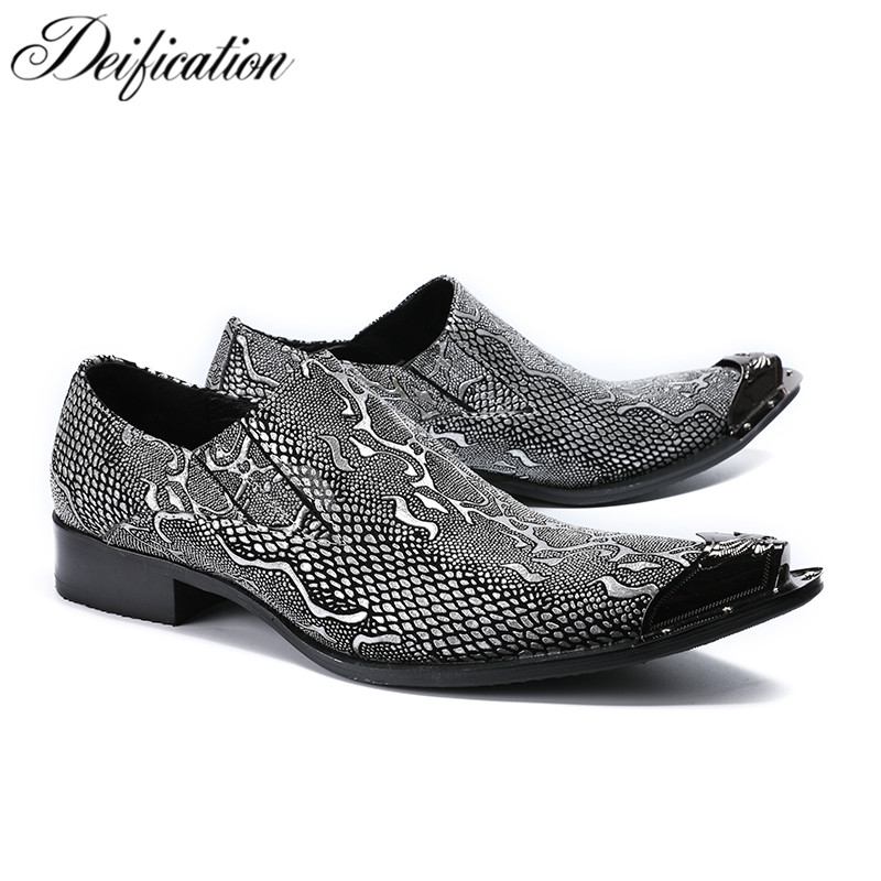 Deification Casual Leather Dress Men Shoes Metal Pointy Toe Italy Classic Style Business Wedding Formal Shoes Slip On Men Flats