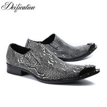 Deification Casual Leather Dress Men Shoes Metal Pointy Toe Italy Classic  Style Business Wedding Formal Shoes Slip On Men Flats 8689a4861f66