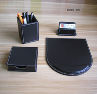4PCS /set wooden leather desk office stationery organizer pen holder pencil case card note case desk accessories black K209A