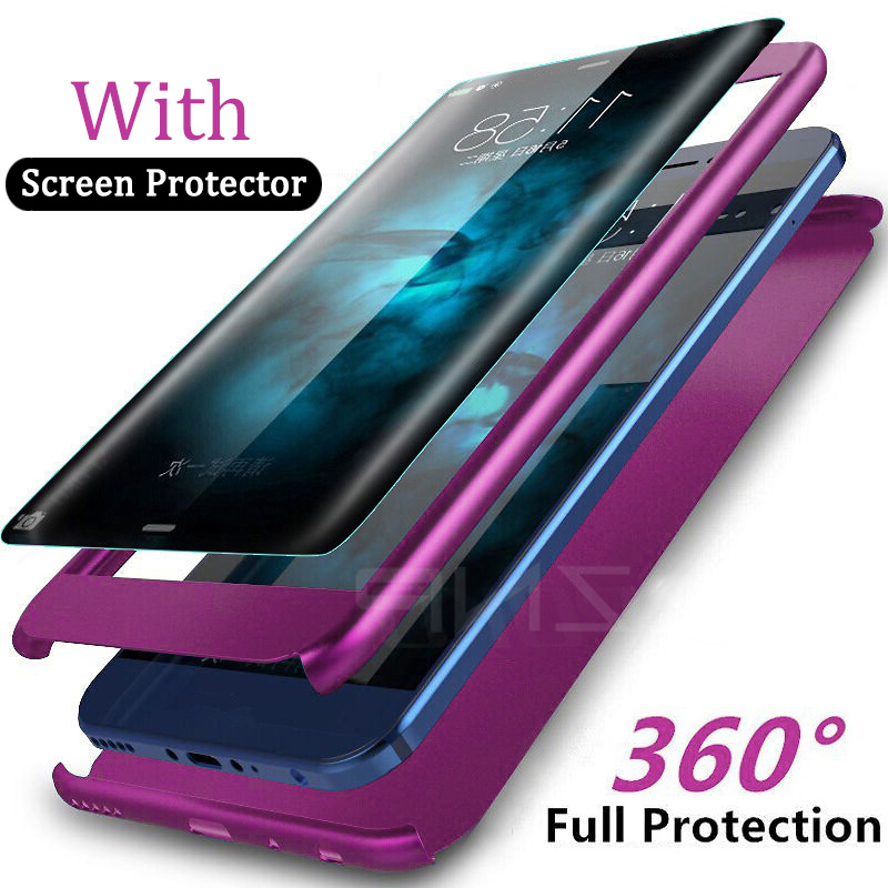 ZNP Luxury 360 Full Degree Cover Phone Case For Samsung S7 Note 8 S7 Edge S9 Case For Samsung Galaxy S9 S8 Plus Shockproof Case купить недорого в Москве