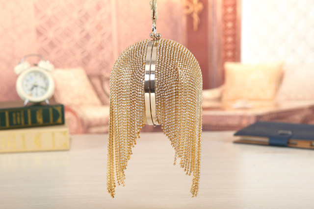 Top quality gold clutch luxury full diamond evening bags tassel party bag  bling women round clutch purse bag bolsa feminina w486. 1 (1) 1 (3) 1 (4)  ... 94b9c0a6f94f