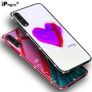 IPNGVE For Huawei P20 Pro Case Blue Light Tempered Glass Rhinestone Diamond 3D Relief Print Back Cover Phone Bags Fundas Coque