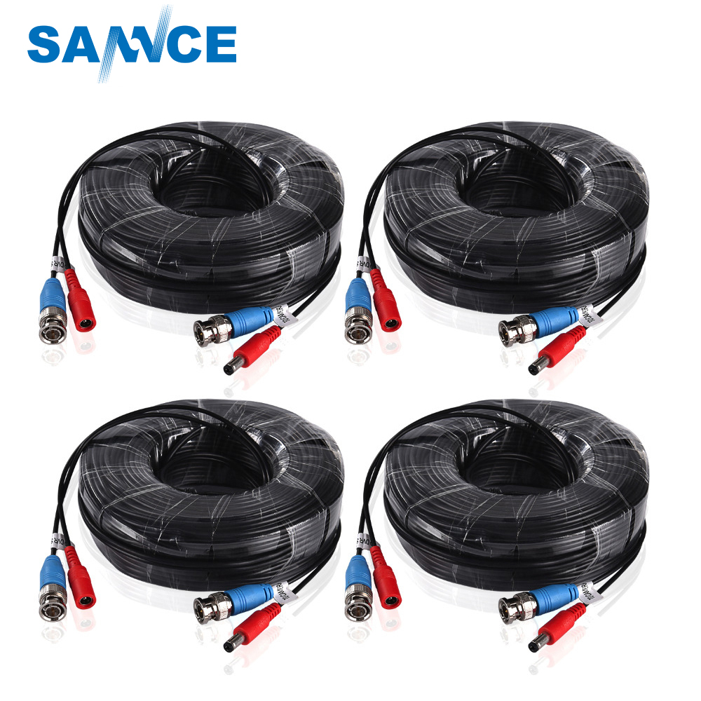 SANNCE 4PCS A Lot 30M 100 Feet BNC Video Power Cable For CCTV AHD Camera DVR Security System Black Surveillance Accessories