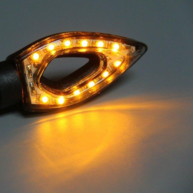 2pcs 12V 12 LEDs Motorcycle Arrow Shaped Turn Signal Indicator Light Bulb Amber Light Energy Saving Long Lifespan for Motorbike