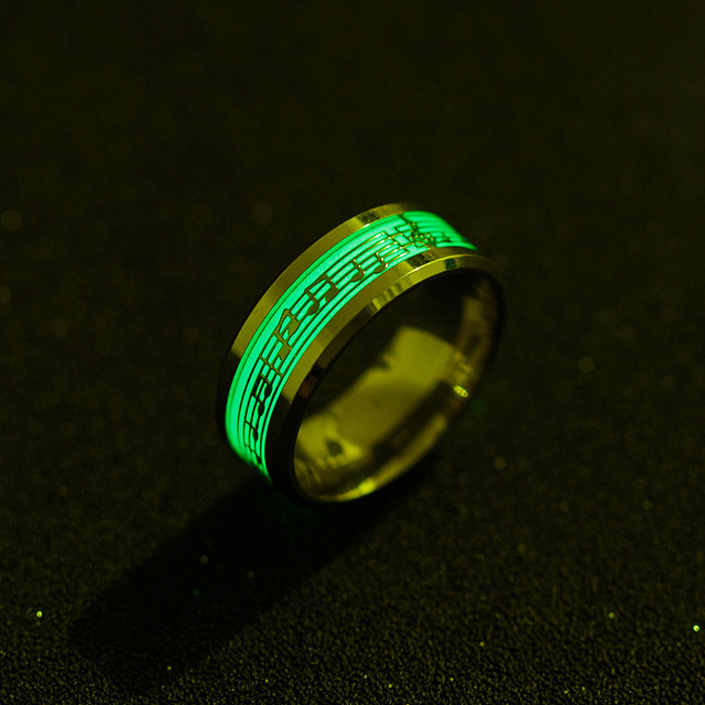 Stainless Steel Music Stave Luminous Ring for Men Women Glow in Dark