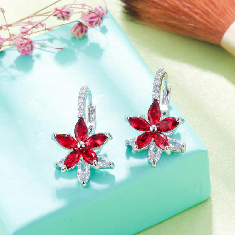 Pera High Quality AAA+ Dark Blue Cubic Zirconia Big Flower Cute Silver Color Ear Stud Earrings for Fashion Women Party Gift E114