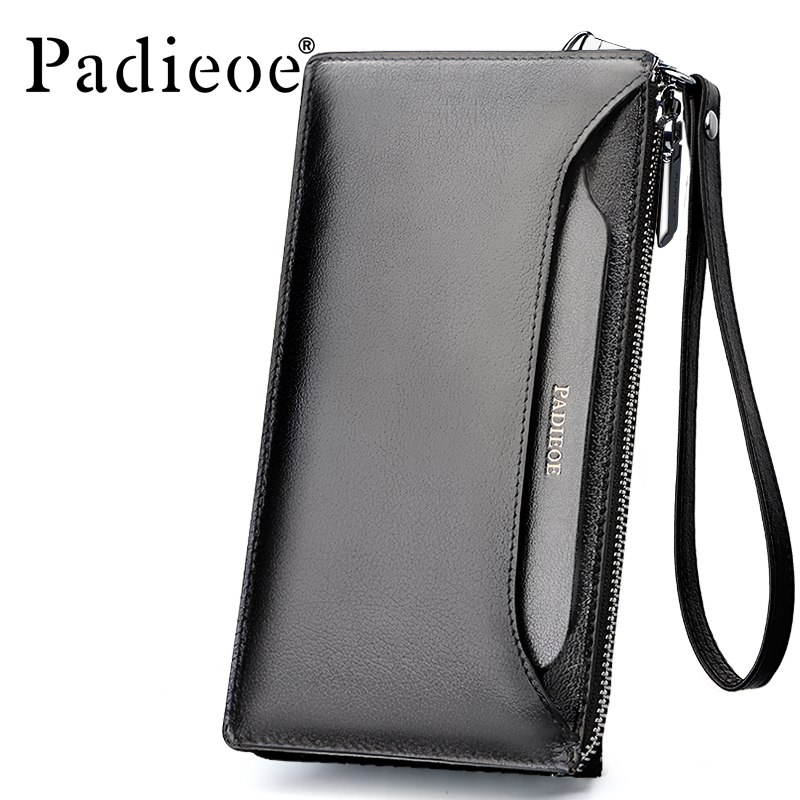 Padieoe Men's Genuine Leather Long Wallet High Quality Real Cowskin Purse Phone Card Holder Zipper Famous Brand Male Clutch Bag