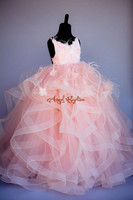 Ruffles blush pink Ostrich feather princess pearls beads flower girl dresses birthday gown 1 14 years prom evening pageant dress
