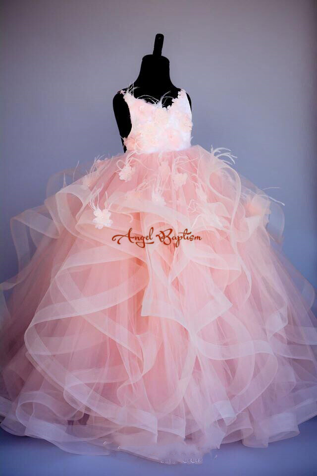 Ruffles blush pink Ostrich feather princess pearls beads   flower     girl     dresses   birthday gown 1-14 years prom evening pageant   dress