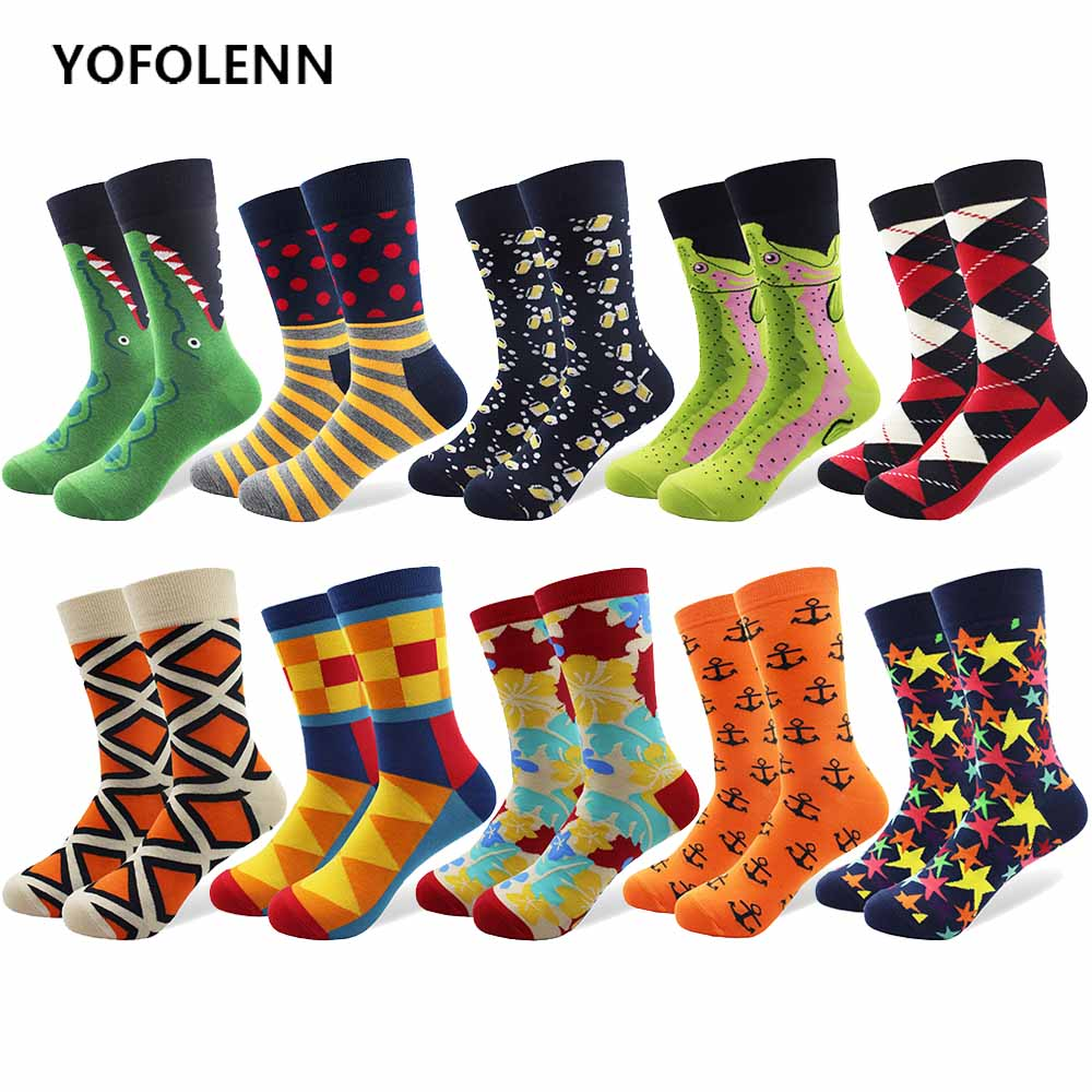 10 Pairs/lot Fashion Mens Combed Cotton Socks Happy Funny Colored Multi Pattern Crazy Long Tube Skateboard Dress Socks for Man