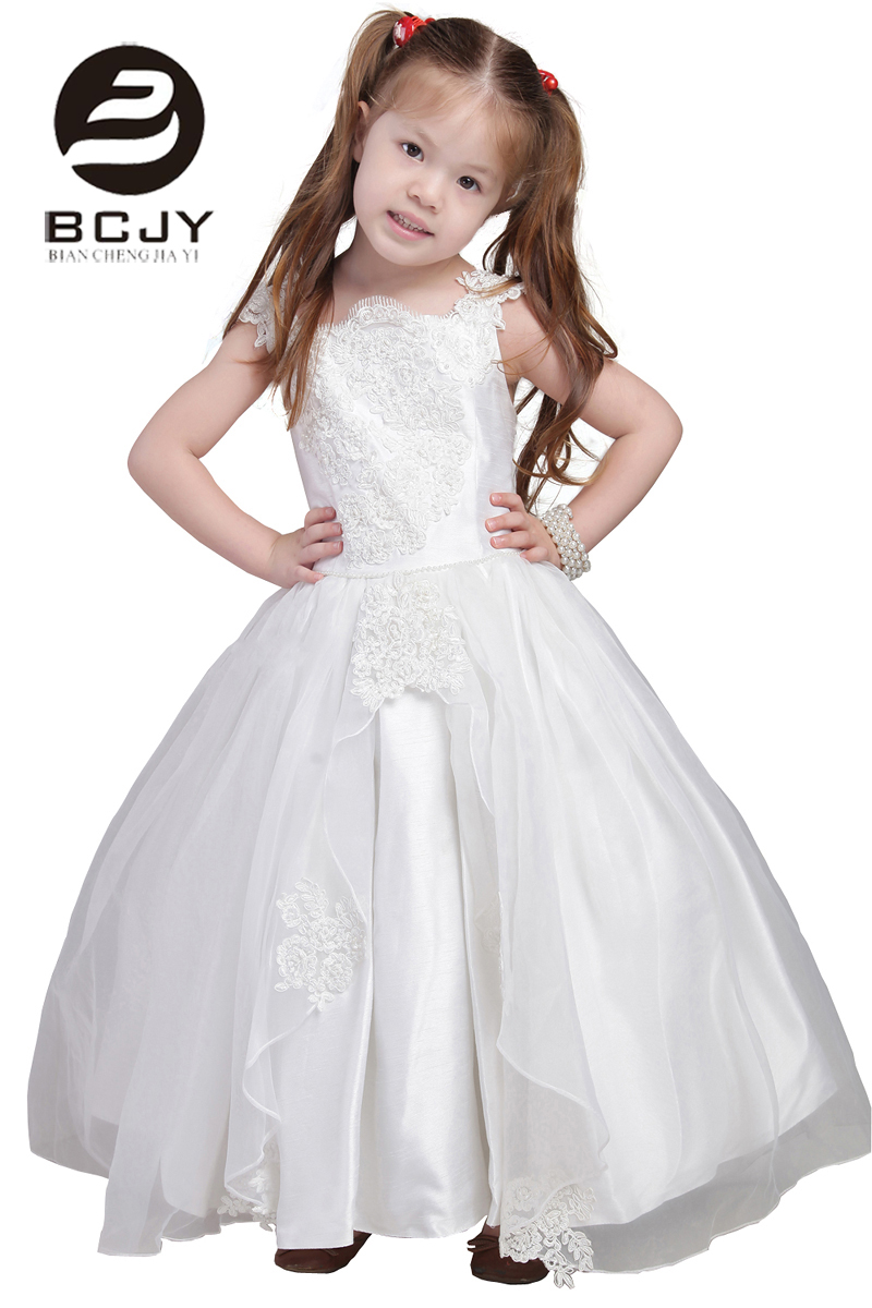2019 New Arrival Ball Gown White Ivory Appliques Pearls Bow Princess Lace   Flower     Girls     Dresses   Tank   Girls   First Communion Gowns