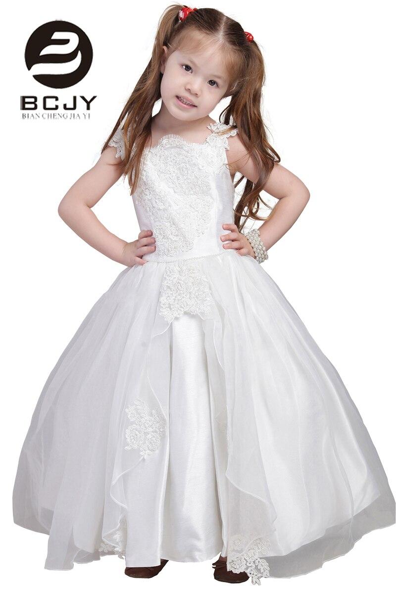 2019 nouveauté robe de bal blanc ivoire Appliques perles arc princesse dentelle fleur filles robes débardeur filles première Communion robes