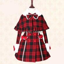 Sweet Lolita Dress Long-sleeve Classic Plaid Winter Dresses for Women Winter Coat Warm Coat Cosplay Costumes XS-XL Custom-made