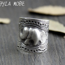 купить 999 Sterling Silver Ring Elephant Pattern Thai Silver Rings for Women Men Jewelry anillos Male дешево