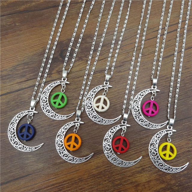 Fashion jewelry tibetan silver half moon necklaces pendants peace fashion jewelry tibetan silver half moon necklaces pendants peace sign pendant statement chain necklace for mozeypictures Image collections